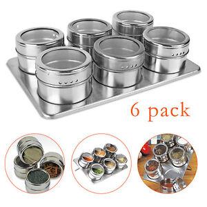 Magnetic-Spice-Rack-Herb-Pot-Jar-Kitchen-Storage-Holder-Stand-Stainless-Steel