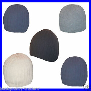 Mens Ribbed Skull beanie Hat  One Size Five Colours To Choose