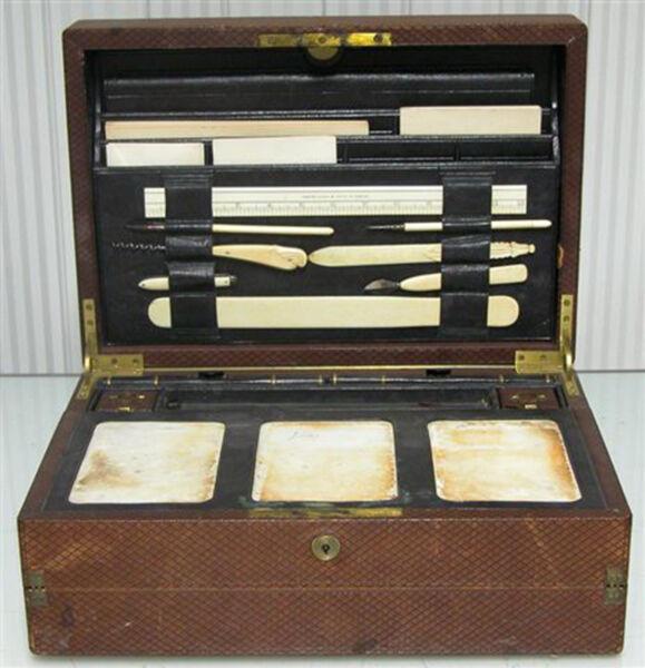 Antico Vecchio Scrittoio Da Viaggio 1872 Parkins & Cotto Oxford London Scrivania