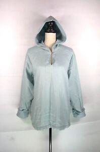 J-JILL-Women-039-s-Light-Blue-V-Neck-Pullover-Hooded-Rolled-Up-Cuff-Shirt-Sz-Medium