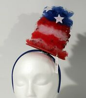Patriotic Top Hat Headband Sparkle Tulle Red White Blue Celebration 4th Of July