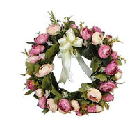 28cm Door Hanging Wall Window Decoration Wreath Rose Peony Flower Wedding Party