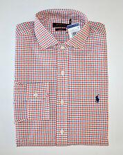 NWT Men's Ralph Lauren Casual Long-Sleeve Shirt, Orange, White, Blue, M, Medium