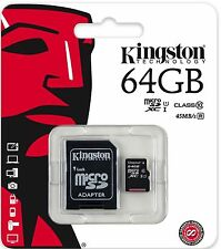 Genuine Kingston 64gb Micro SD SDXC card Class10 with SD adapter, Retail Pack