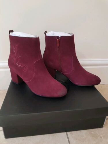 Boots Uk Embroidered Ankle Red 38 Suede 5 Dna Heeled Burgundy wpHqSPY
