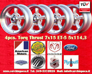 4 cerchi Torq Thrust 7x15 ET-5 5x114 Buick Chrysler Dodge Ford Lincoln Mercury