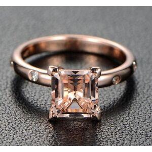 3-00Ct-Princess-Cut-Morganite-Desinger-Engagement-Ring-14K-Rose-Gold-Finish