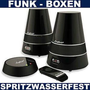 aktiv wireless boxen funk lautsprecher spritzwasserfest garten bad tv mp3 iphone. Black Bedroom Furniture Sets. Home Design Ideas