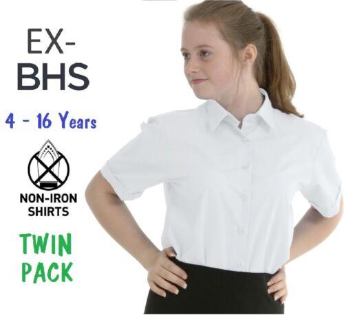 EX BHS Bambina Scuola Camicia confezione da 2 Bianco Manica Corta Non Stirare età 4-16