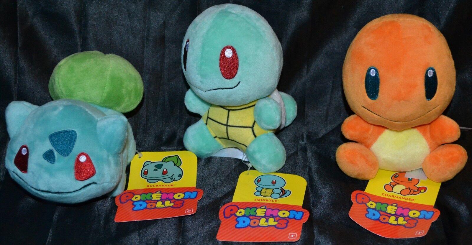 Charmander, Bulbasur & Squirtle Set of 3 Official Pokemon Center Plush Dolls