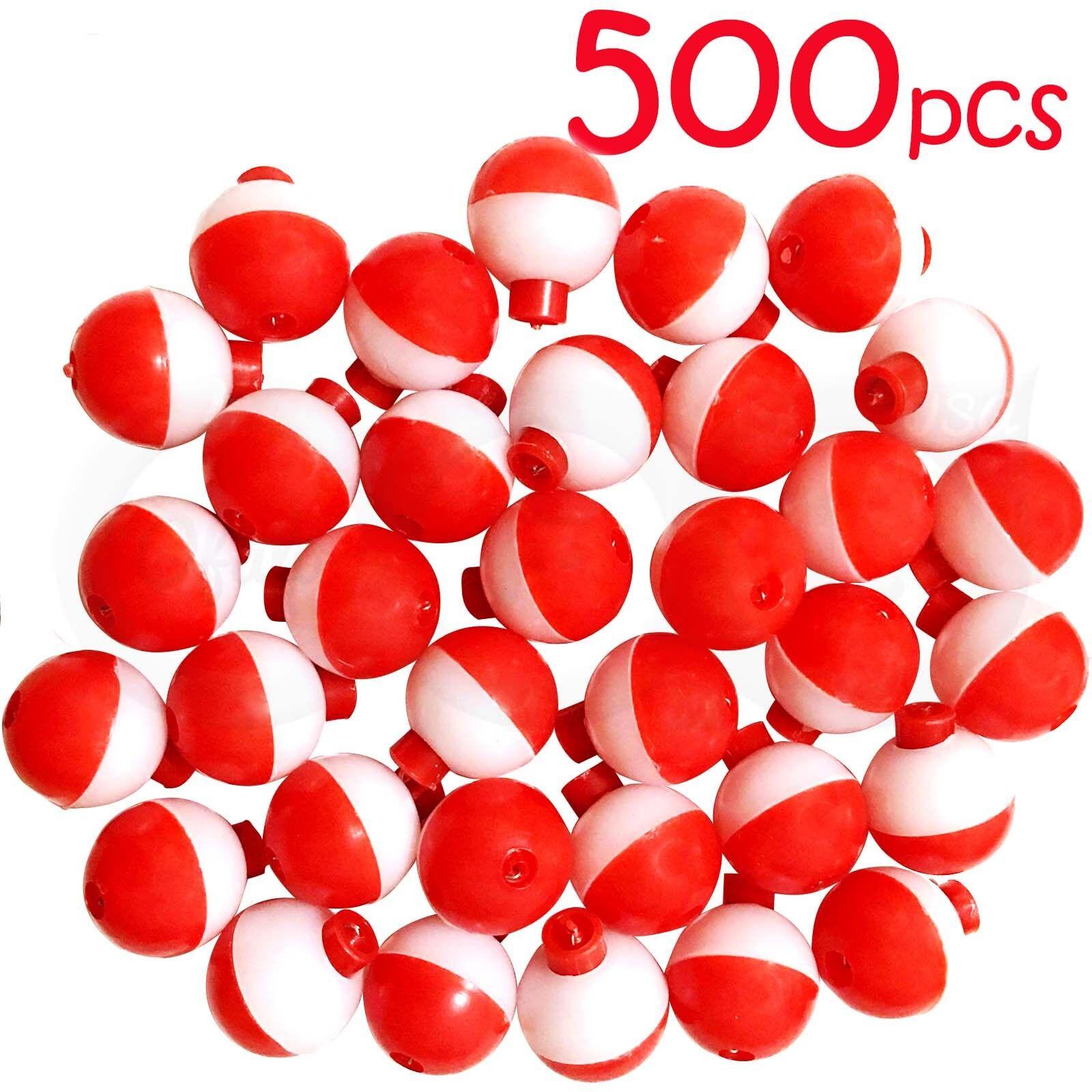 500pcs 1  Fishing float Snap-On Round Floats bobbers Push Button rojo blanco NEW