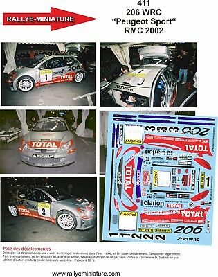 DECALS 1//43 REF 0421 PEUGEOT 206 WRC OLIVIER BURRI RALLYE MONTE CARLO 2002 RALLY