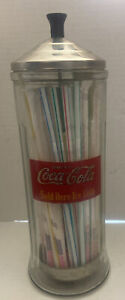 Coca-Cola-Straw-Dispenser-034-Diner-Style-034-1993-With-Straws-Great-For-Coke-Lovers