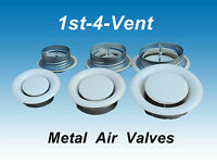 """4"""" 5"""" 6"""" 8"""" WHITE METAL AIR VALVE for  Extractor Fan Ducting Ceiling Grille Vent"""