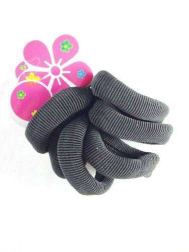 6PCS BLACK LARGE THICK HAIR ELASTIC PONYTAIL ENDLESS SNAGFREE BOBBLE VA175B-6B