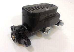 Black-Aluminum-Brake-Master-Cylinder-1-Bore-4-Ports-Finned-Top-Street-Rod