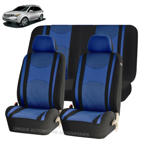 BLUE /& BK HONEYCOMB SPLIT BENCH SEAT COVERS 6PC SET FOR SUVS 1146