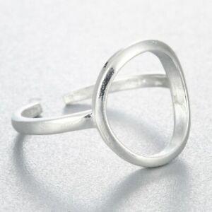 Ring-925-Silber-Verstellbar-Offen-Filigran-Kreis-Rund-Loch-Neu