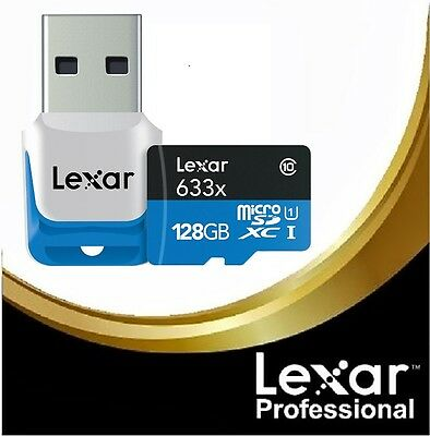Lexar 128GB HP microSDXC 633x Class 10 UHS-I Memory Card with USB 3.0 Reader