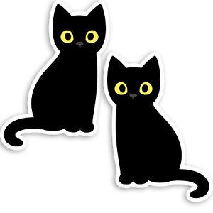 2-x-10cm-Cute-Black-Cat-Vinyl-Stickers-Kitten-Pet-Animal-Laptop-Sticker-34178