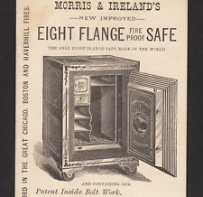 Morris & Ireland Eight Flange Fire Proof Safe 1880's old Advertising Trade Card