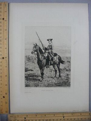 Rare Antique Orig VTG 1888 The Vedette Le Rat after Meissonier Etching Art Print