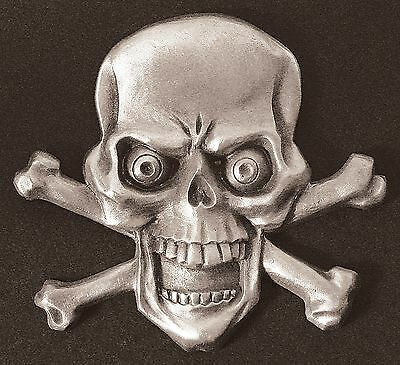 Skull w/ Cross Bones Dash Plaque, Guitar, Rat Rod, Emblem  #11