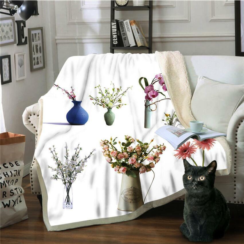 3D Vasenblume ZHU113 Warm Plüsch Fleece Decke Picknick Sofa Couch Quilt Bett