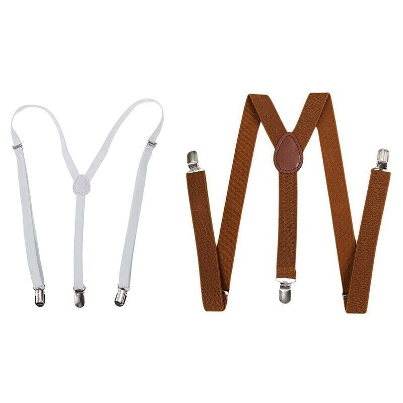 2pcs Unisex Clip on Suspender Elastic Y-Shape Back Formal Adjustable Braces O4U3