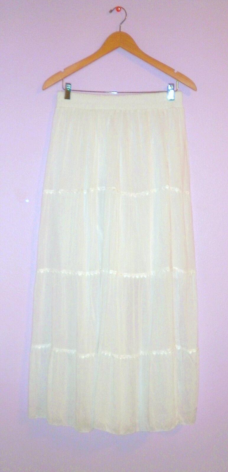 India Boutique Maxi Skirt NWT White Bohemian Peasant Skirt 100% Cotton