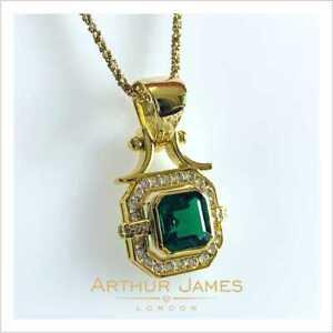 Colgante-3-50-CT-corte-de-la-esmeralda-colombiana-piedras-preciosas-Diamante-Verde-Oro-Joyeria-Dama