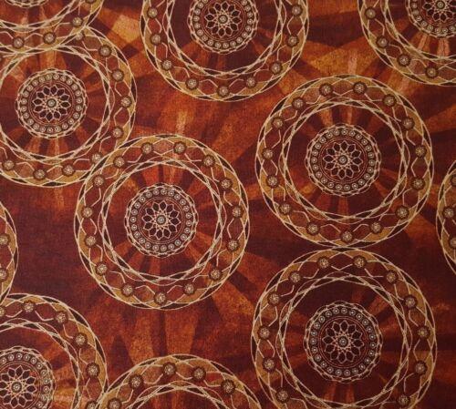 Rise /& Shine Sarah Hudock Quilting Treasure BTY Rusty Brown Tan Mandalas