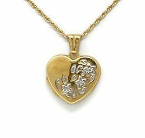 18K-Gold-Heart-Locket-Flower-Design-Yellow-Gold-White-Gold-Flowers