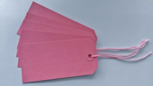 25 PINK STRUNG LUGGAGE TAGS 120MM X 60MM GIFT PARCEL LABELS WITH PINK STRING