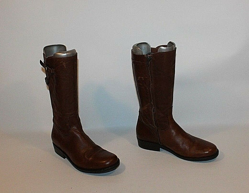 Brown Leather RIVER WOODS Zip Round toe Biker Casual Mid / Calf Boots Size 3 / Mid 36 4cca2a