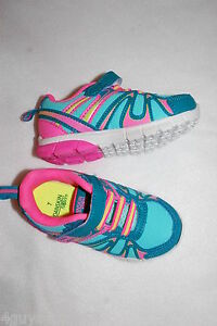 Toddler Girls Athletic Shoes AQUA TEAL HOT PINK YELLOW Easy On Off 7 8 9 10 11