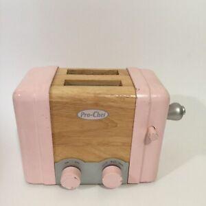 Pottery Barn Kids Retro Kitchen Pink Wooden Toaster Ebay