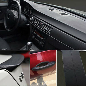 car interior accessories 3d interior panel black carbon fiber vinyl wrap sticker ebay. Black Bedroom Furniture Sets. Home Design Ideas