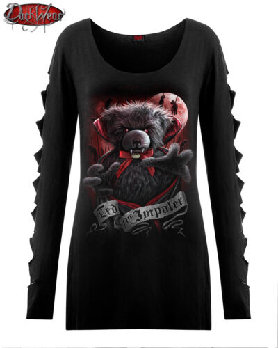 Spiral Direct NEW TED THE IMPALER TEDDY BEAR SLASHED TOP//Goth//Cute//Dark Wear//Tee