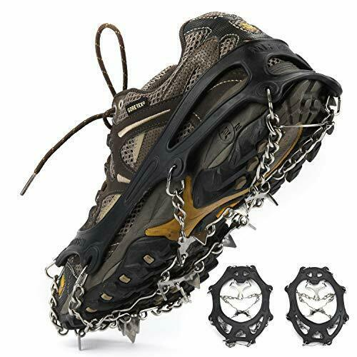 Details about  / Ice Cleats Crampons 1 Pair for Boots Shoes Women Men Kids 19-Crampon,XL Black