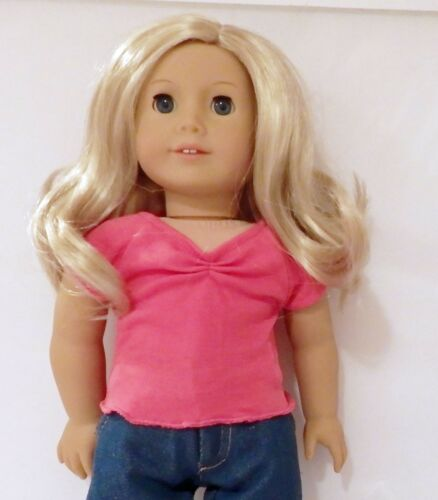Hot Pink Cinched Front T Shirt Fits 18 inch American Girl Doll