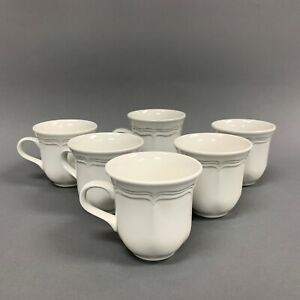 Mikasa-French-Countryside-F9000-White-Coffee-Cups-Lot-of-6