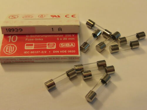 RS FUSES 179 020 10 X F1AL250V F1A PACK OF 10 FAST BLOW GLASS FUSE 5mm x 20mm