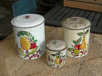 3x Classic 1950s Vintage Kitchen Canister Original Tin Retro Pineapple Pear Ebay