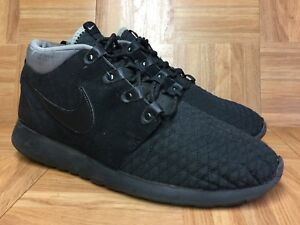 RARE-Nike-Rosherun-Mid-Sneakerboot-Black-Gray-13-Men-039-s-Shoes-615601-002-Worn