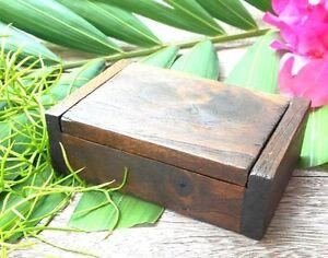 Vintage teak wooden jewelry box handmade trinket storage name card holder gift#1