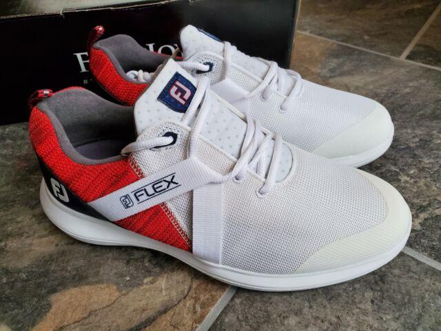 FootJoy 56104 Flex Golf Shoes Red White Blue - Men's Size 9W Wide
