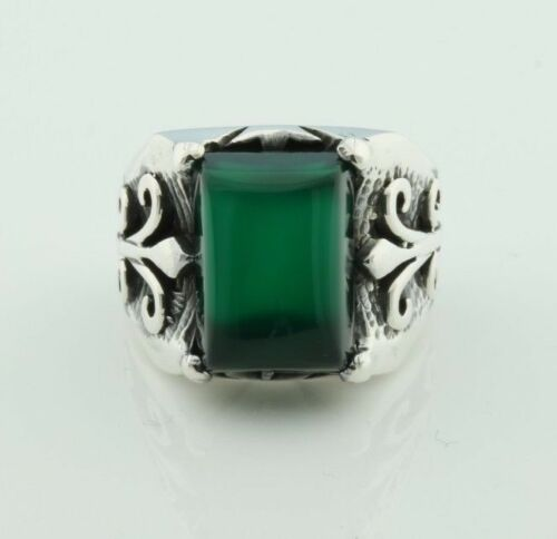 P3D US Seller 925k Solid Sterling Silver Green Agate Men/'s Ring