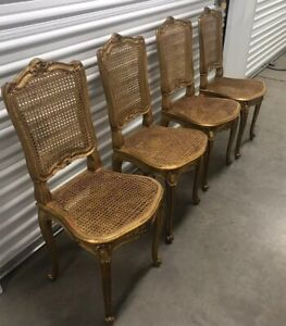 Details About Antique Set Of 4 Gilt Cane French Chairs Neoclassical