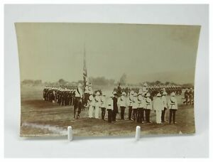 Antique-early-20th-century-photograph-regiment-of-soldiers-on-display